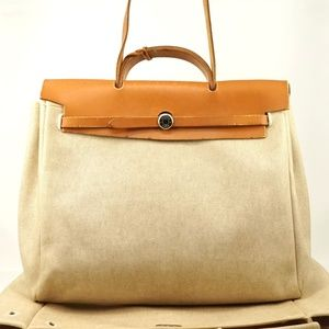 Auth Hermes Her Bag Beige Canvas Large #1496H36